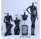 female mannequin black matt lacquered high quality without head with plate