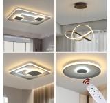 9641 LED Deckenleuchte mit Fernbedienung Lichtfarbe/ Helligkeit einstellbar Acryl-Schirm weiß/grau lackierter Metallrahmen
