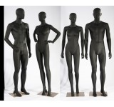 Male female abstract mannequin black matt skin color man new ears nose