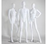 Male female abstract mannequin white matt skin color man new ears nose