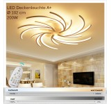 2042  LED ceiling light with remote control light color / brightness adjustable acrylic shade white lacquered metal frame