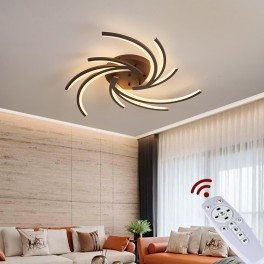 2042  LED Deckenleuchte mit Fernbedienung Lichtfarbe/ Helligkeit einstellbar Acryl-Schirm weiß or kaffee lackierter Metallrahmen