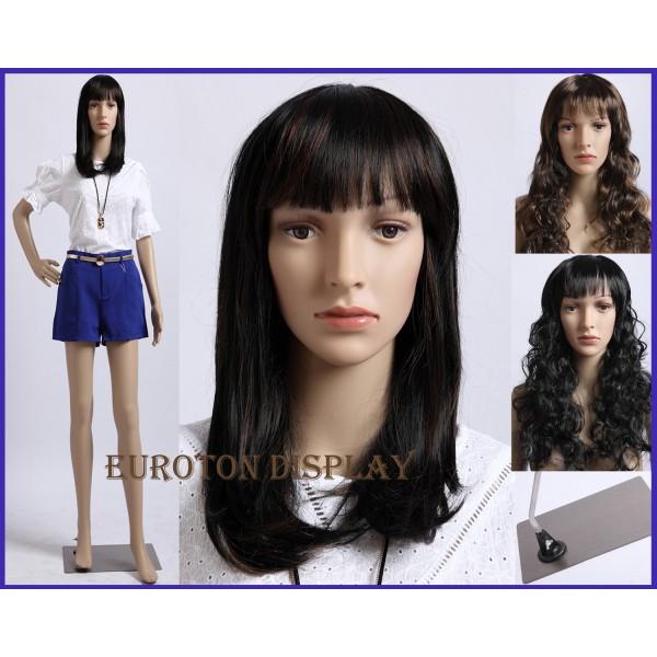 Eurotondisplay weibliche Schaufensterpuppe mit 2 Per/ücken gratis SF-10=2 beweglich Hautfarbe
