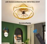Deckenleuchte mit Ventilator 3345 Deckenventilatorleuchte  Fernbedienung Lichtfarbe/ Helligkeit einstellbar dimmbar fan light