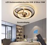Deckenleuchte mit Ventilator 3338 Deckenventilatorleuchte  Fernbedienung Lichtfarbe/ Helligkeit einstellbar dimmbar fan light