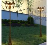 Gartenlampe Außenleuchte Kandelaber in antikem Look, Metall in Braun/Gold, Echtglas-Scheiben