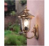 Außenwandleuchte BD-1 in antikem Look, Braun/Gold, Echtglas-Scheiben