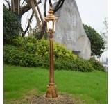 Außenleuchte Wegelampe HW110cm in antikem Look, Braun/Gold, Echtglas-Scheiben