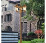 Außenleuchte Kandelaber HW250-3flammig in antikem Look, Braun/Gold, Echtglas-Scheiben