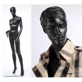 CS12-8 abstrakte Schaufensterpuppe schwarz  in matt Frau