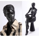 QT16-8 abstract sitting mannequin matt dark gray
