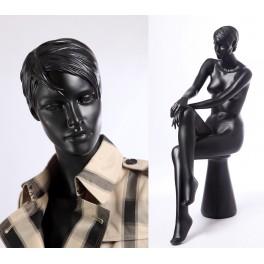 QT16-8 abstrakte Schaufensterpuppe schwarz  in matt Frau