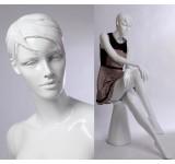 QT16-B abstrakte Schaufensterpuppe weiss in glanz  Frau