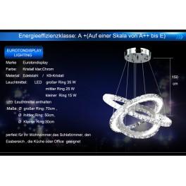 LED Pendelleuchte 3210 Luxus  Design K9 Kristall chrom  drei Ringe Ø 70cm 50cm 30cm /2 Ringe  70x50cm 4500 K 75 W