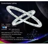 B124 B-Ware LED Pendelleuchte 3210 Luxus  Design K9 Kristall chrom  2 Ringe Ø70x50cm 4500K  75W