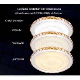 LED Deckenleuchte 2017  Kristall klar/bernstern   Fernbedienung  Lichtfarbe/ Helligkeit einstellbar 64w
