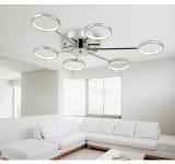 LED Deckenleuchte Y8010-6C Luxus  Design  chrom  Ø 88cm H 9cm  warmweiß 3000k 6x6,5W