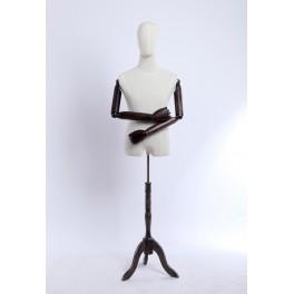 Schneiderbüste männlich A9T-G stoffbezogenen Oberkörper und Kopf ,Arme und Finger aus Holz beliebig verstellbar