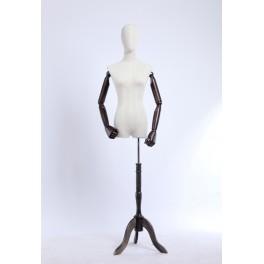 weibliche Schneiderbüste B3T-G  stoffbezogenen Oberkörper und Kopf ,Arme und Finger aus Holz beliebig verstellbar