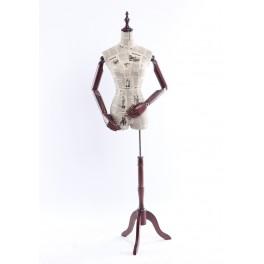 B-6-0 weibliche Schneiderbüste stoffbezogenen Oberkörper mit Deckel ,Arme und Finger aus Holz beliebig verstellbar
