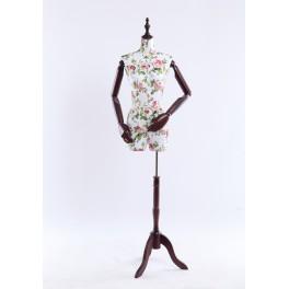 B-4-0 weibliche Schneiderbüste stoffbezogenen Oberkörper mit Deckel ,Arme und Finger aus Holz beliebig verstellbar