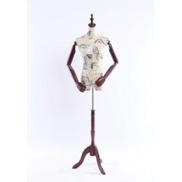 B-9-0 weibliche Schneiderbüste stoffbezogenen Oberkörper mit Deckel ,Arme und Finger aus Holz beliebig verstellbar