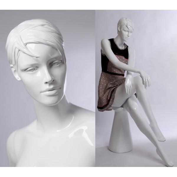 weibliche Schaufensterpuppe CS15-B  weiß in glanz mannequin female white  Frau