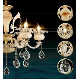 Kronleuchter 89536 15fl 6fl  Luxus  Design   Kristall ,Jade, Metall E14