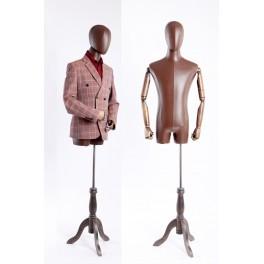 Schneiderbüste männlich A-1T-G Kunstleder bezogenen Oberkörper und Kopf ,Arme und Finger aus Holz beliebig verstellbar