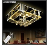 LED ceiling light 1675-60*60cm crystal clear 97x69cm incl. LEDs and remote control light color adjustable 68 W