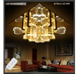 LED ceiling light 1666V 60*60 cm  crystal clear incl. LEDs and remote control light color  96 W