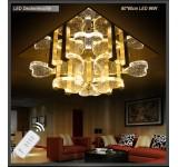 LED Deckenleuchte Kristall 1666V 60*60 cm 96 W  mit Fernbedienung  Lichtfarbe getrennt schaltbar