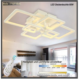 LED ceiling light 6087-6 with remote control light color / brightness adjustable A+ 60 W