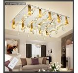 LED Deckenleuchte Kristall 6888 95*75 cm  Fernbedienung  Lichtfarbe getrennt schaltbar 142 W