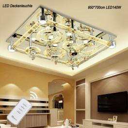 LED Deckenleuchte Kristall 2901 95*75 cm Fernbedienung  Lichtfarbe getrennt schaltbar 140 W