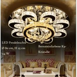 LED Pendelleuchte 6021-80 LNB mit Fernbedienung Lichtfarbe Steuerbar. Kristall und Bernsteinfarben K9. A+