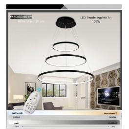 2130-3 Ringe LED Pendelleuchte mit Fernbedienung Lichtfarbe und Helligkeit einstellbar Acryl-Schirm A+