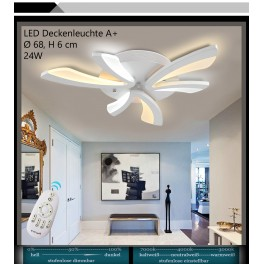 XW062 LED Deckenleuchte mit Fernbedienung Lichtfarbe/ Helligkeit einstellbar Acryl-Schirm weiß lackierter Metallrahmen