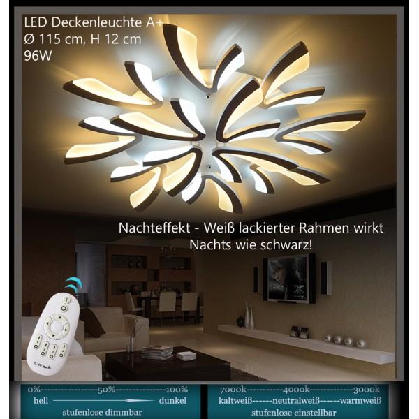 XW062 LED Deckenleuchte Mit Fernbedienung Lichtfarbe/ Helligkeit  Einstellbar Acryl Schirm Weiß Lackierter Metallrahmen ...