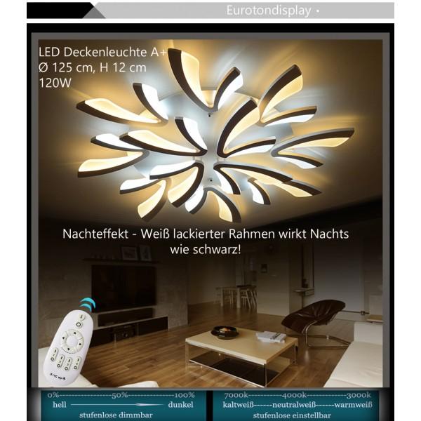 ... XW062 LED Deckenleuchte Mit Fernbedienung Lichtfarbe/ Helligkeit  Einstellbar Acryl Schirm Weiß Lackierter Metallrahmen ...