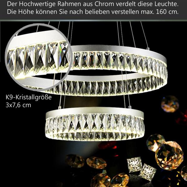 LED 3210  Pendelleuchte Luxus-Design K9 Kristalle klar chrom Ringe A sparsam