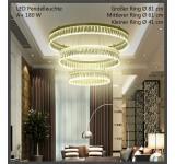 Pendelleuchte KR410 Ringe Neutralweiß, Höhenverstellbar Luxus Design A+. Sparsam LED Wohnzimmerleuchte Kronleuchter