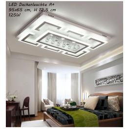 XW803 LED Deckenleuchte mit Fernbedienung Lichtfarbe/Helligkeit einstellbar Acryl-Schirm weiß/Schwarz lackierter Metallrahmen