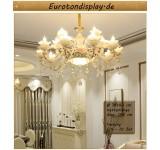 XLH Kronleuchter Deckenlampe Kristall Fassung E14 Luxuriös Neu Lüster Deckenleuchte Leuchte Hängend Wohnzimmer Schlafzimmer