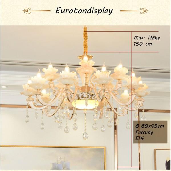 ... XLH Kronleuchter Deckenlampe Kristall Fassung E14 Luxuriös Neu Lüster  Deckenleuchte Leuchte Hängend Wohnzimmer Schlafzimmer ...