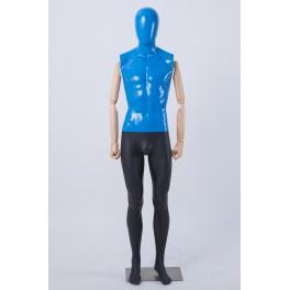Männlich Weibliche Abstrake Schaufensterpuppe Egghead Holzarme Hände Bunt Blau