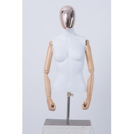 Male Female Abstrake Tailor Bust Electroplating Head Wood Arms Hands White
