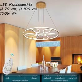 XW808 LED Pendelleuchte mit Fernbedienung Lichtfarbe/ Helligkeit einstellbar Acryl-Schirm weiß lackierter Metallrahmen
