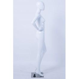 Weibliche Abstrake Schaufensterpuppe weiß Glänzend Hautfarbe Frau Egghead Neu