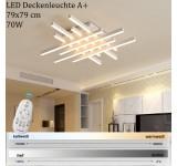 LED Deckenleuchte 6010 mit Fernbedienung Lichtfarbe/ Helligkeit einstellbar Acryl-Schirm lackierter Metallrahmen